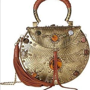 Unique metal and stone crossbody bag